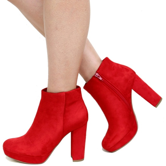 3a15aabf166 New Red Suede Platform Heel Booties Ankle Boots Boutique
